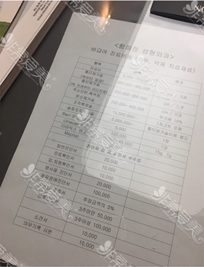 韩国Dr.ham's整形医院价格表