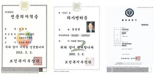 韩国louvre整形外科尹成元医师资格证书