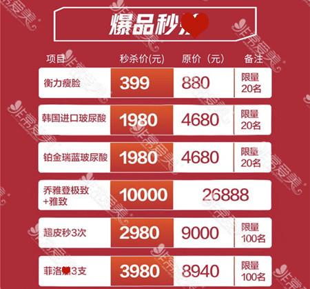 深圳yestar整形年终皮肤科价格表